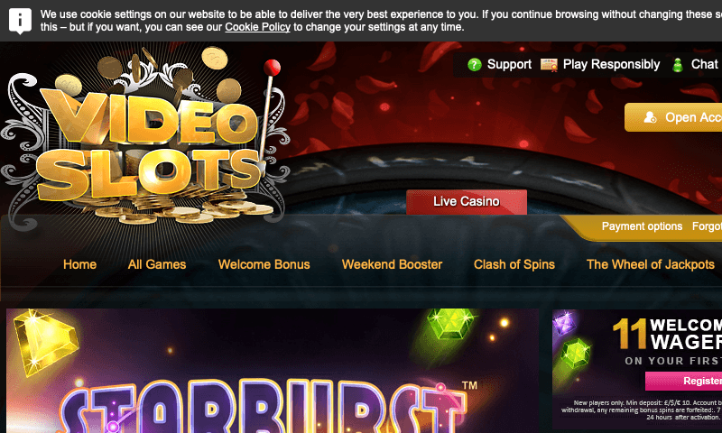Video Slots on tablet