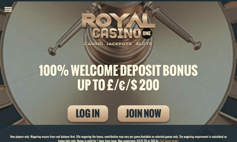 Royal Casino One on tablet