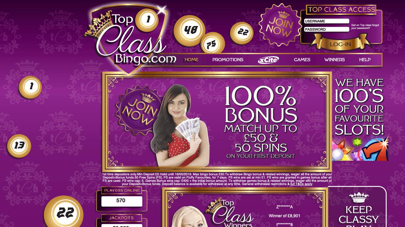 Top Class Bingo on laptop