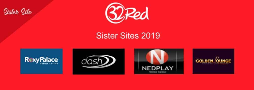 an image of 32 red sister sites including Nedplay and roxy palace