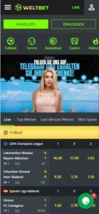 weltbet casino mobile screenshot