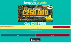 tombola arcade laptop screenshot 2021
